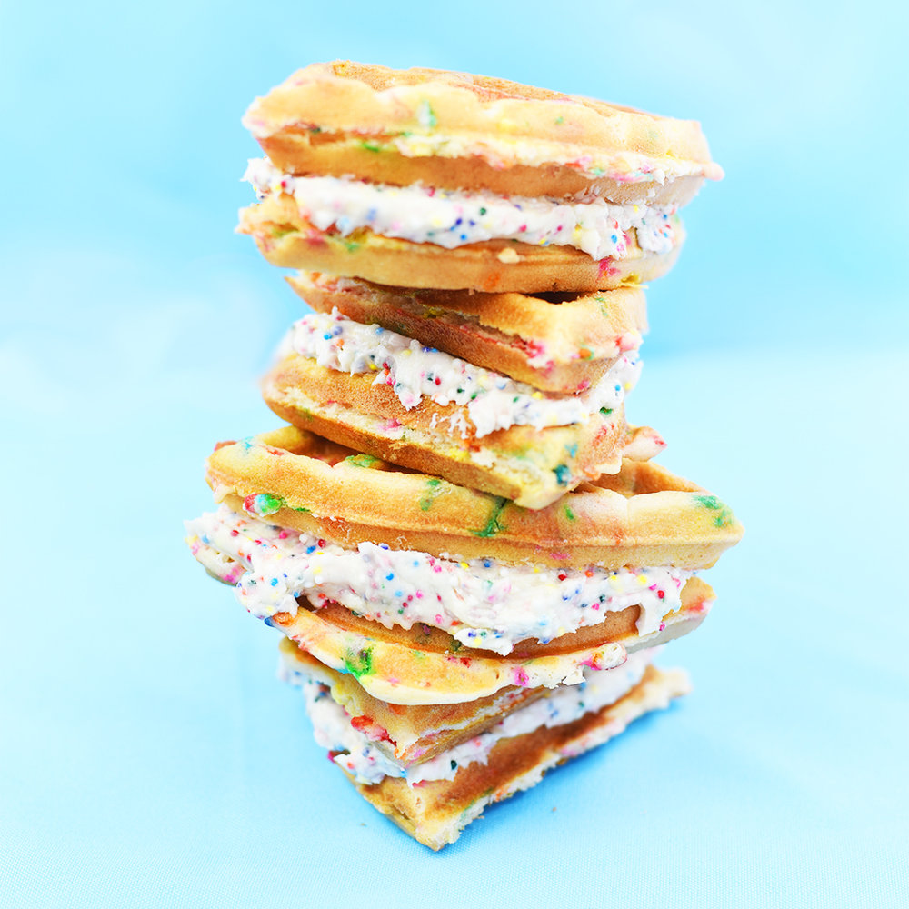 BRit + Co (jan 2017): Get your rainbow fix with this funfetti waffle sandwich