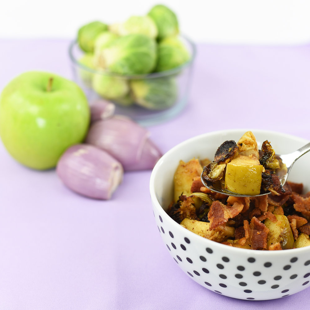 brit + co (nov 2016): upgrade your thanksgiving side dish game with this bacon, apple and brussels sprout hash
