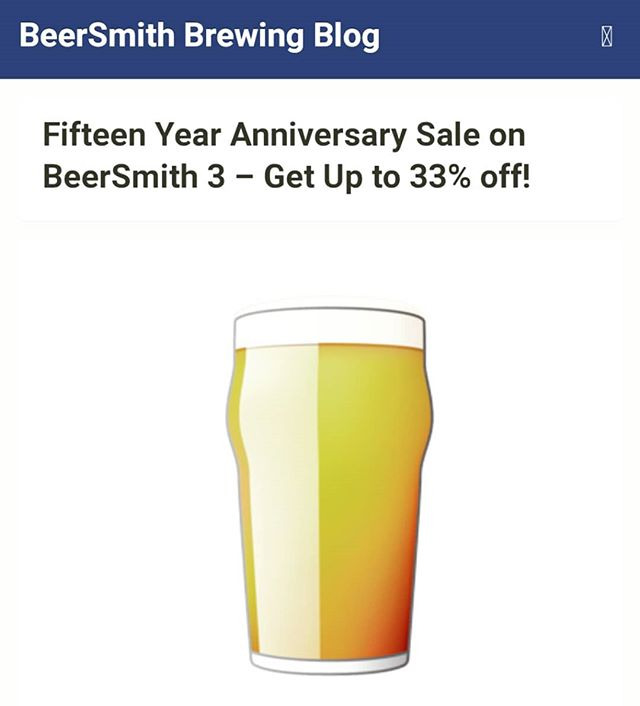 For those of you who use BeerSmith.  #beersmith #deal #anniversary #15years #homebrew