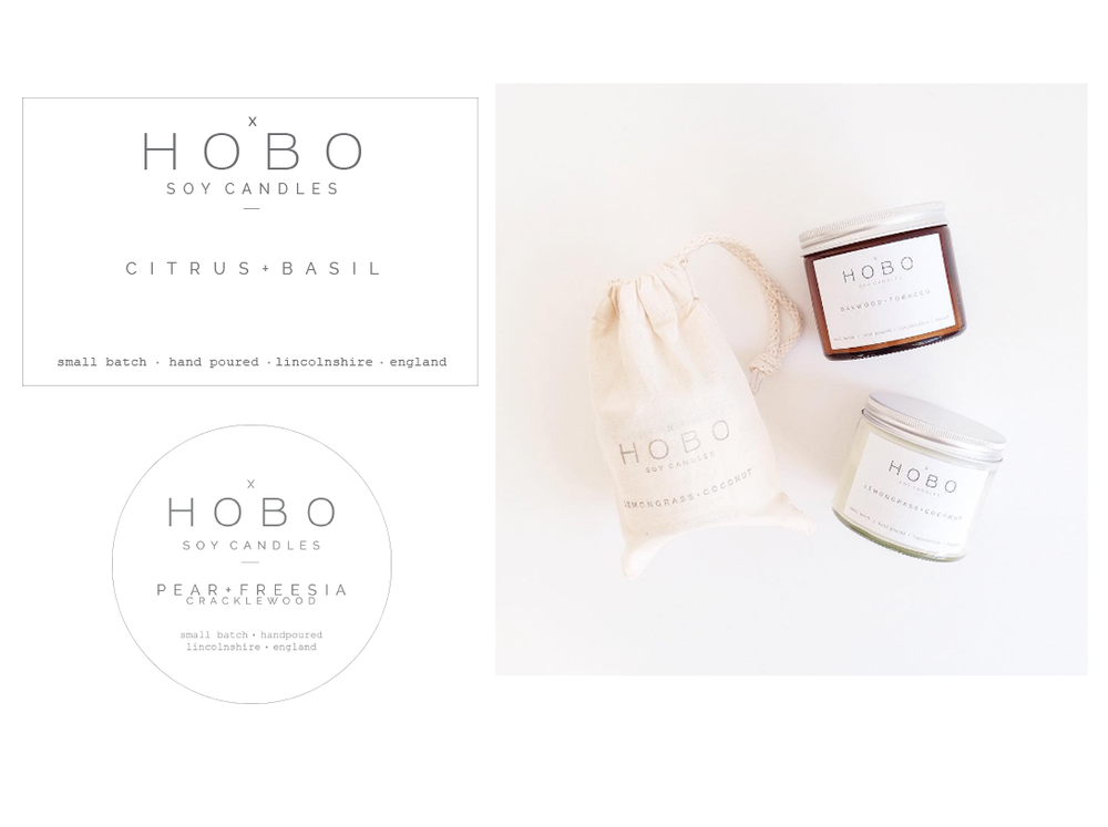 Hobo Soy Candles redesign of packaging labels for british candle brand