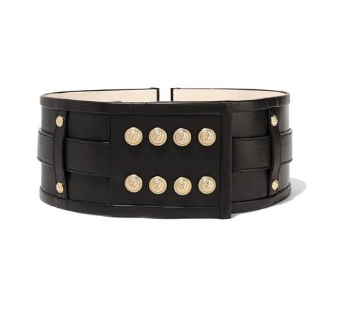 BALMAIN     Embellished leather waist belt