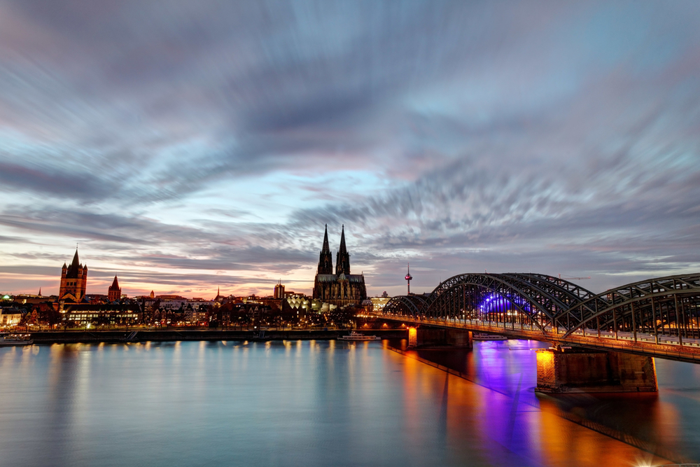 Cologne skyline and Rhine River, Cologne, Germany