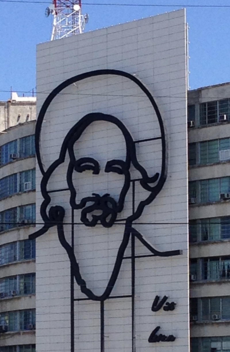 Iron silhouette of Camilo Cienfuegos in the Plaza de la Revolución in Havana.