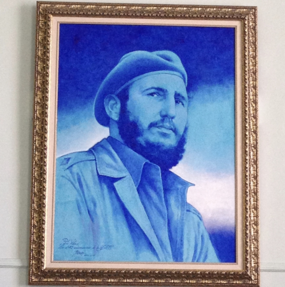 Portrait of Fidel Castro in the conference room of the Federation of Cuban Women.