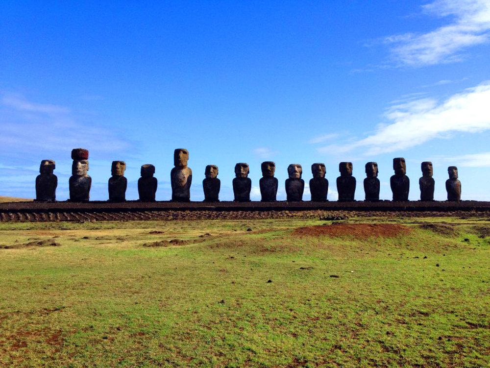 Ahu Tongariki, a majestic ceremonial platform on Easter Island and largest of this nature in Polynesia.