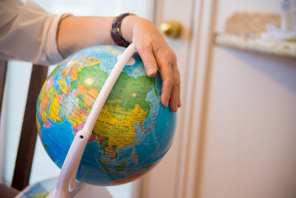 This globe was a recent purchase for her grandchildren.