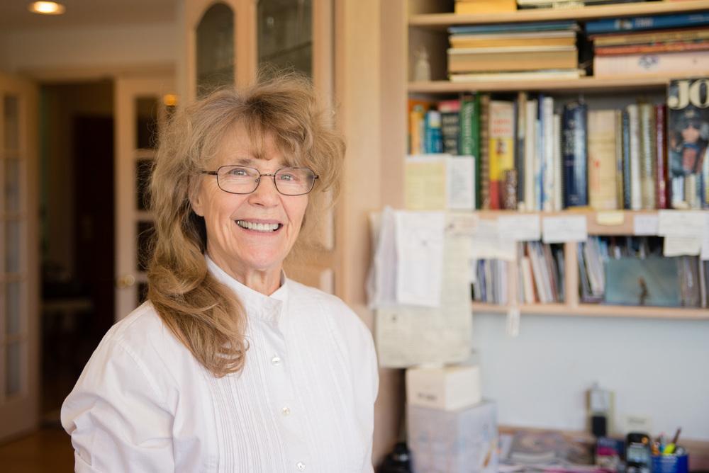 Bonnie Elerding posed for a portrait in her kitchen.