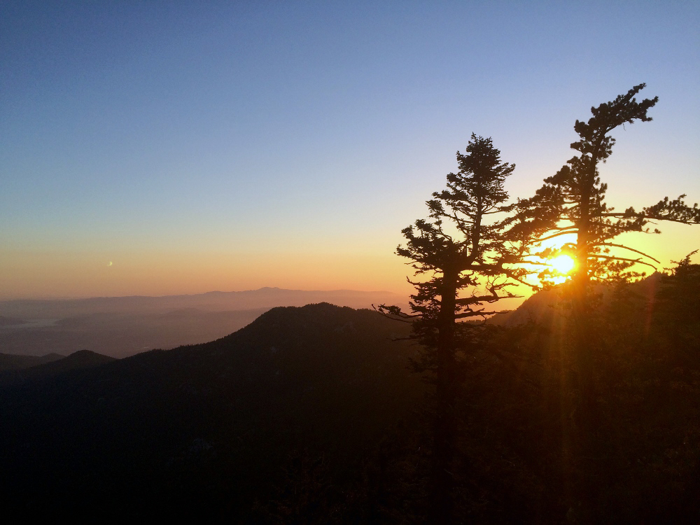 Descending San Jacinto, looking for a place to camp in the twilight.