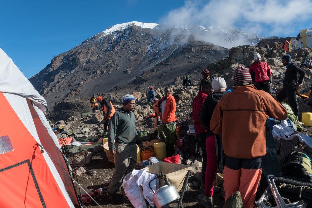 Packing up at Barafu Camp, 15,331'. (photo: David Kotz)