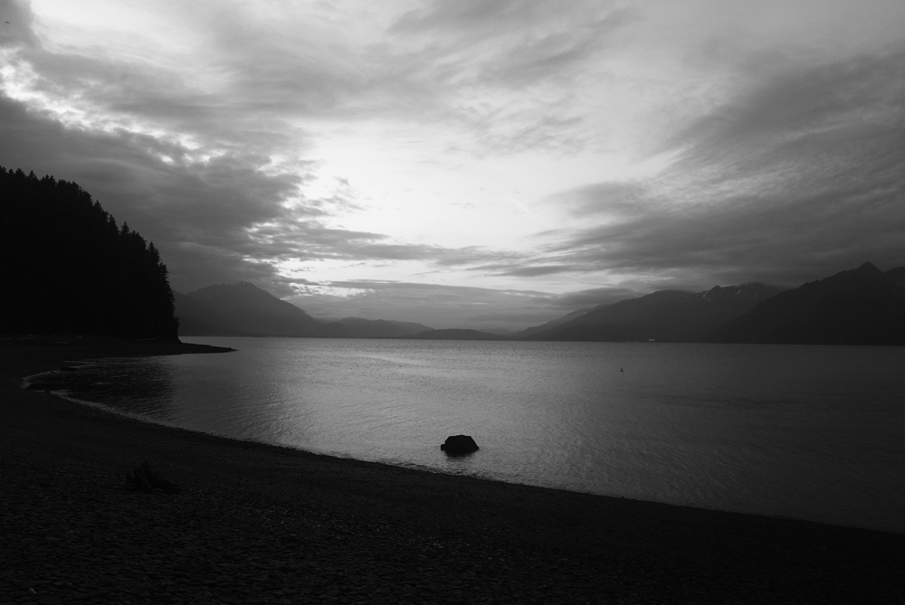 North Beach in Resurrection Bay, had calm waters and no wind during my stay. I experienced the midnight sun (the above photo was taken at 2:00am) and the unique state of mind and body in which I found myself.