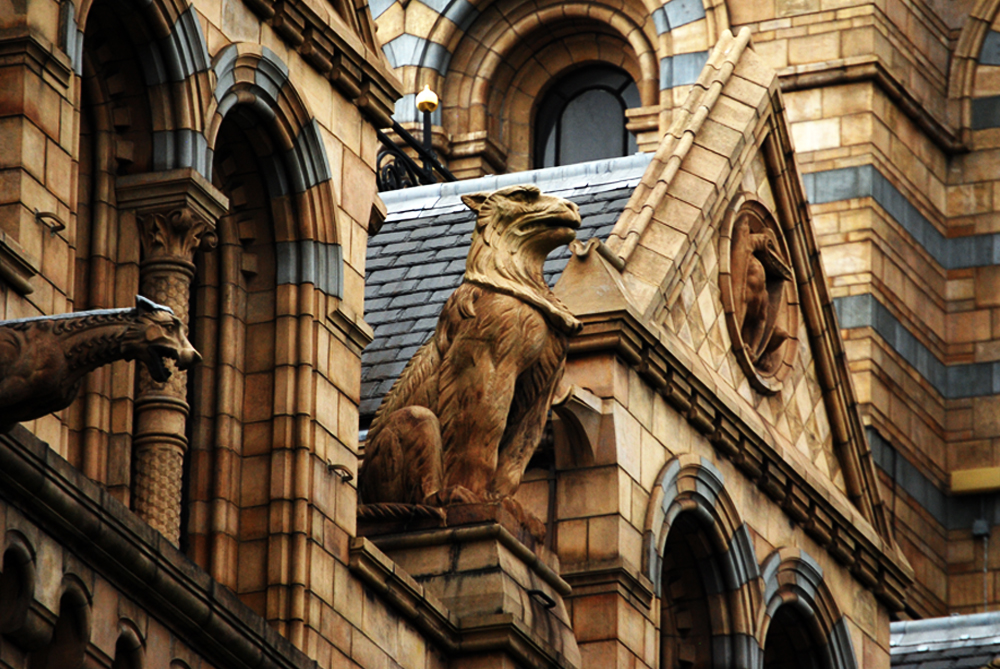 The Natural History Museum of London was established in 1881 and is one of my favorite museums in London. The museum's exteriors have a number of statues of living, past, or legendary animals.