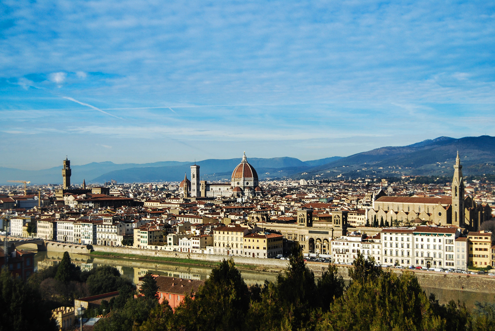 The historic center of Firenze, seen from Piazza Michelangelo, on the south bank of the river, pulls together the centuries of history of the famed city.