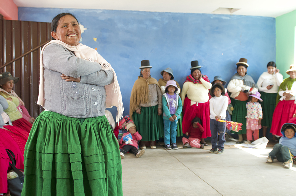 One of the Calamarca weavers explains the growth in their weaving business based on the support from Save the Children.