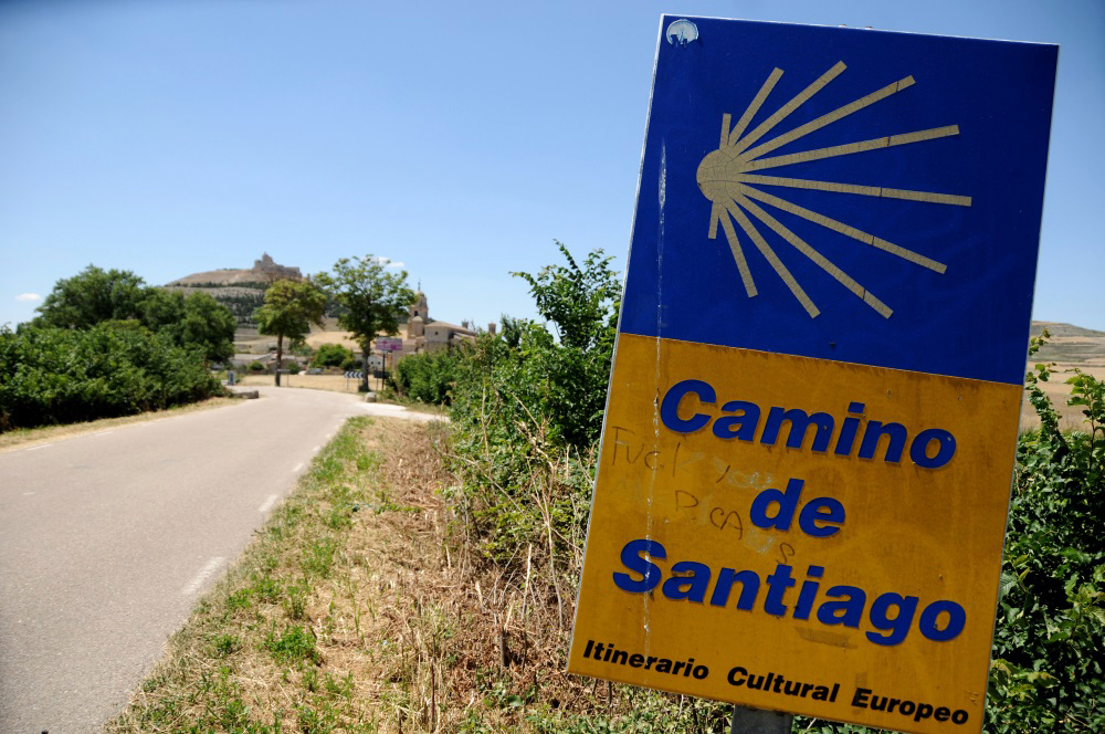 The Camino is littered with guiding signs, like this one in front of Castrojeriz, Spain, indicating pilgrims are on the right route.