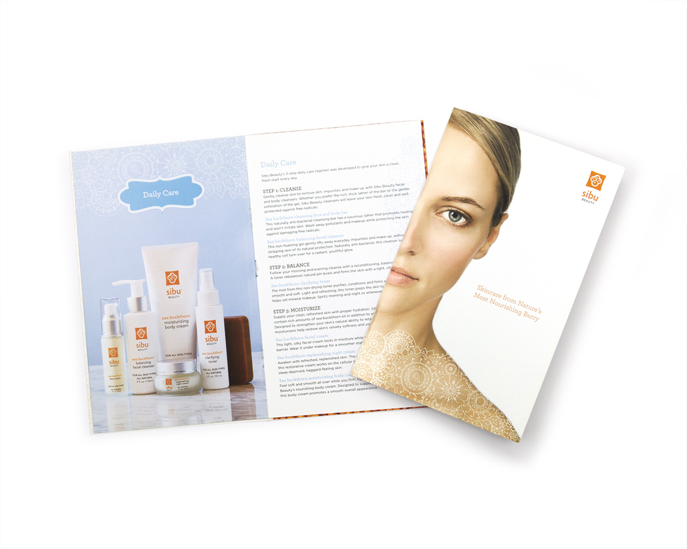 Sibu    Retail staff needed help selling Sibu products as a daily skincare system. New Ink wrote the copy for an an informative brochure that grouped products by both function and skin type and included a handy ingredients listing as well.
