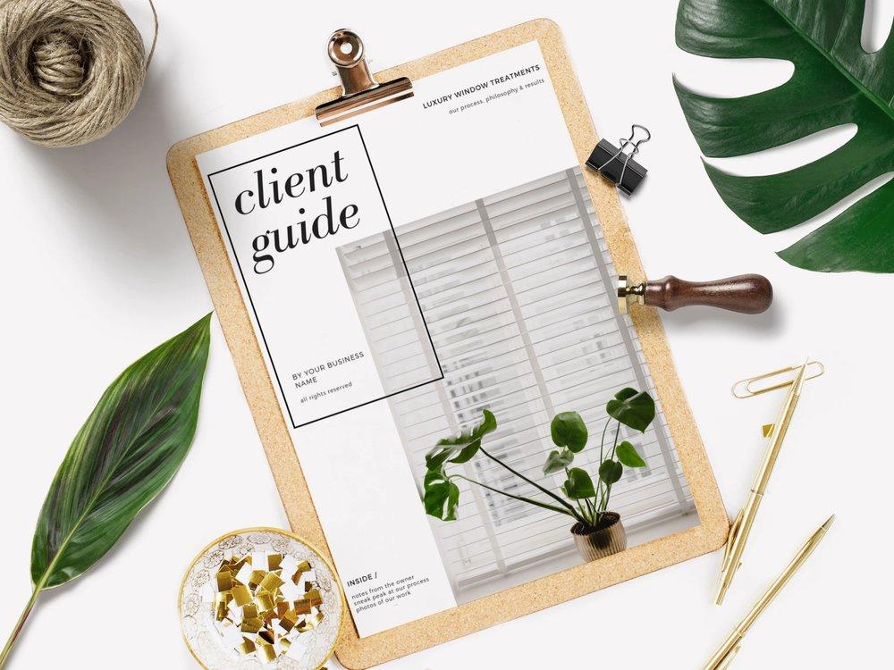 interior design home staging window workroom marketing client guide magazine templates