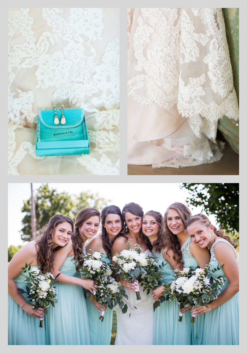 earrings, lace wedding dress and bride with bridesmaids in blue dresses