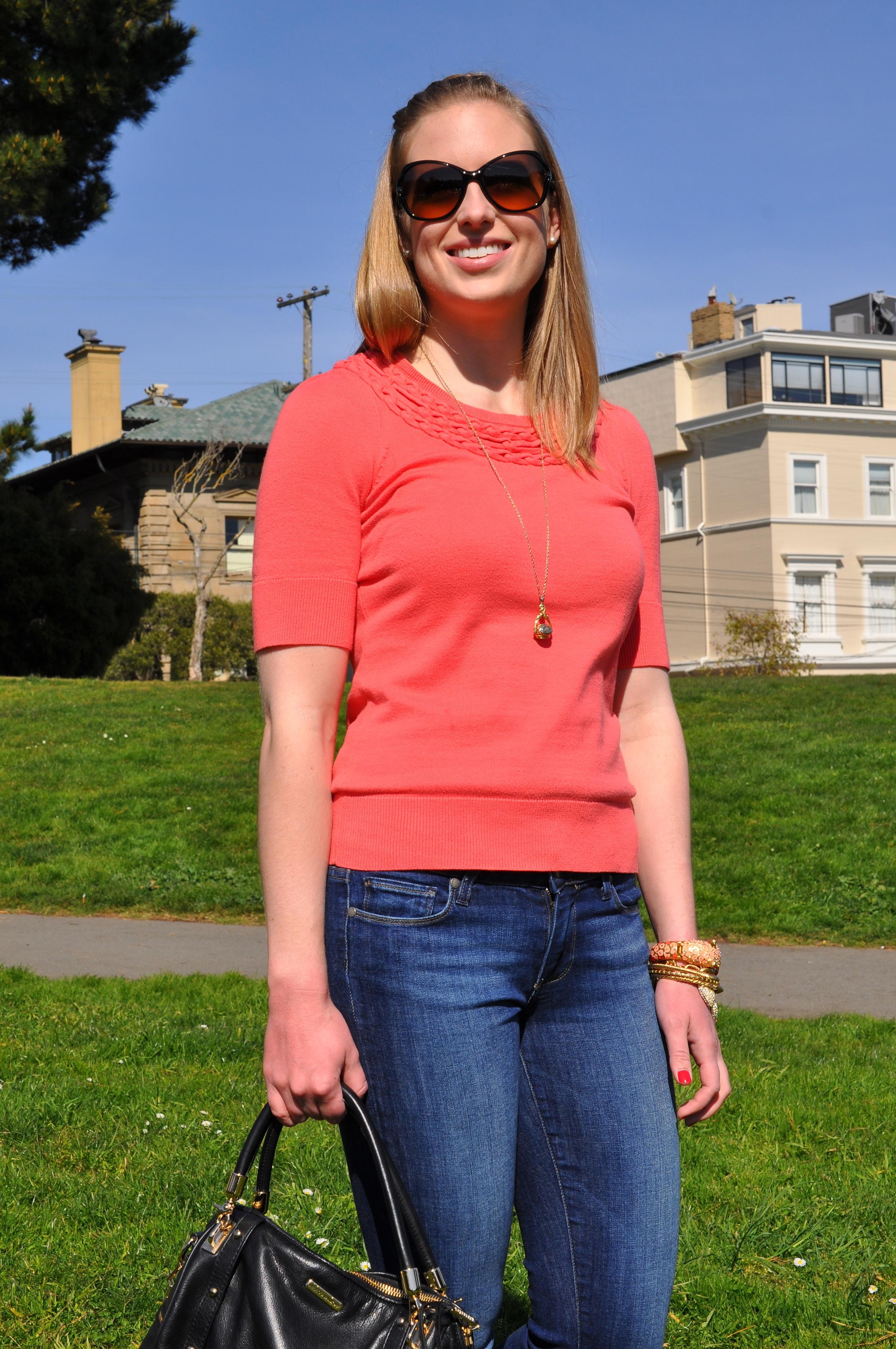 Anthropologie sweater (old), Paige jeans, Steve Madden flats, J. Crew bracelet (similar), J. Crew bangles, J. Crew bracelet, Rebecca Minkoff bag, Tory Burch sunglasses (similar)