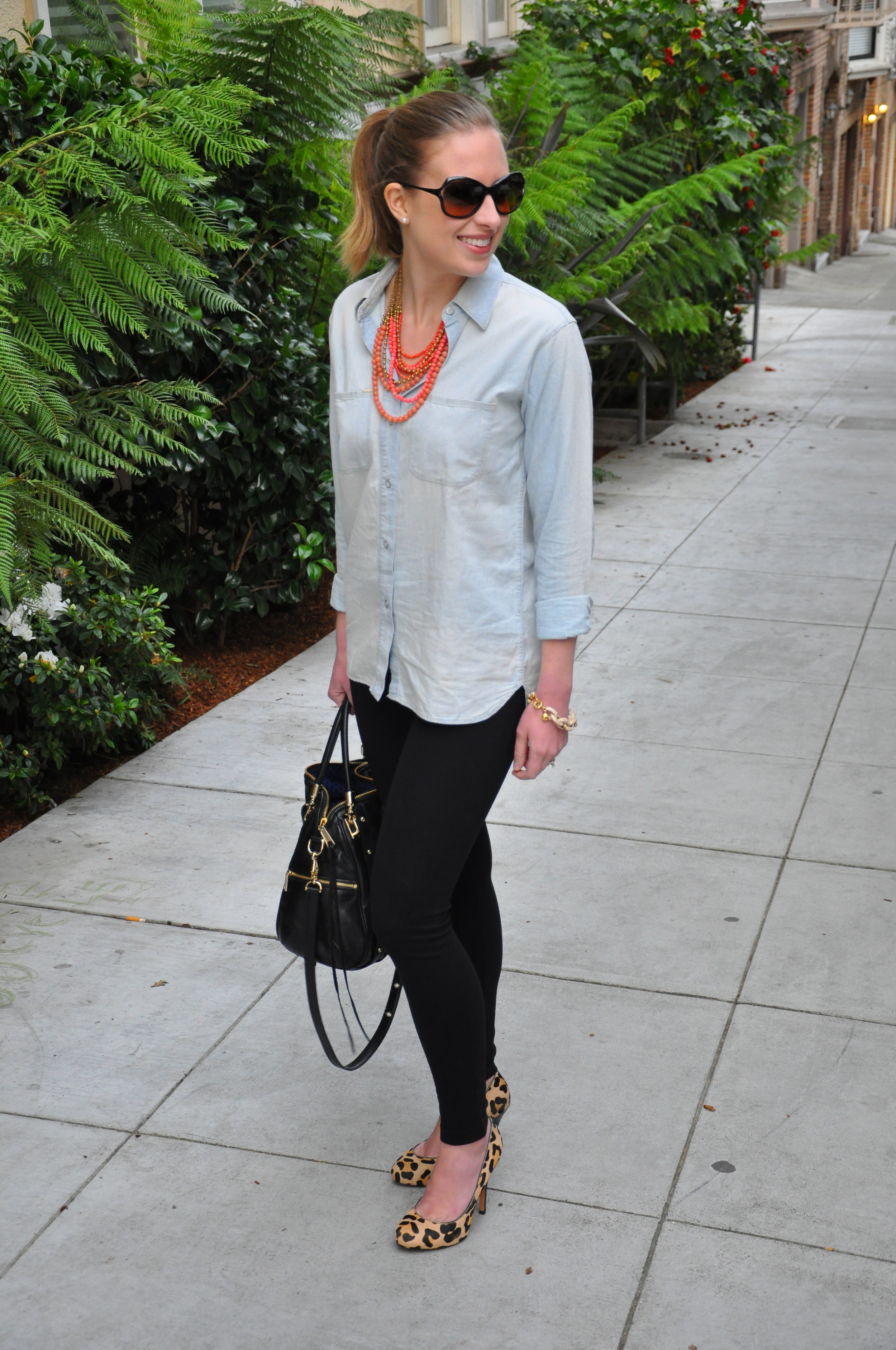 Madewell chambray shirt, J. Crew leggings, Stella & Dot necklace, Ivanka Trump heels (similar), Rebecca Minkoff bag, J. Crew bracelet, Tory Burch sunglasses (similar)