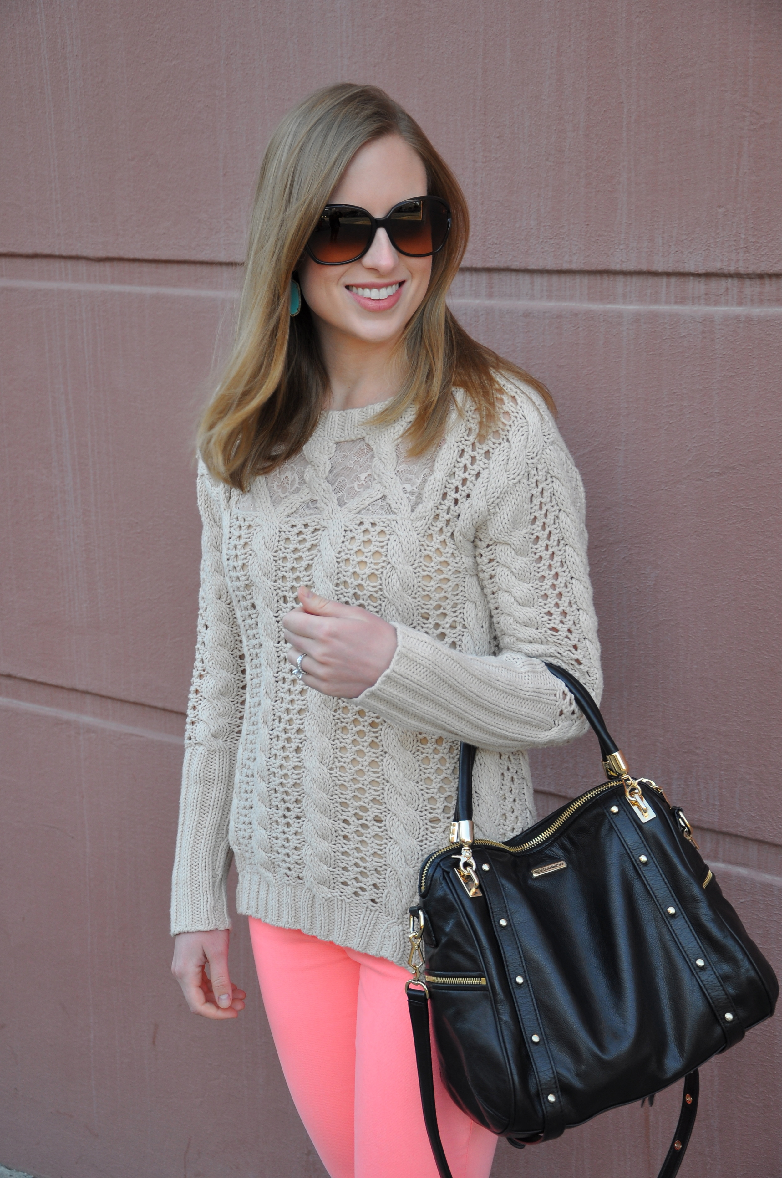 Anthropologie sweater, Madewell jeans, Kendra Scott earrings (very similar), J. Crew flats, Rebecca Minkoff bag, Coach sunglasses