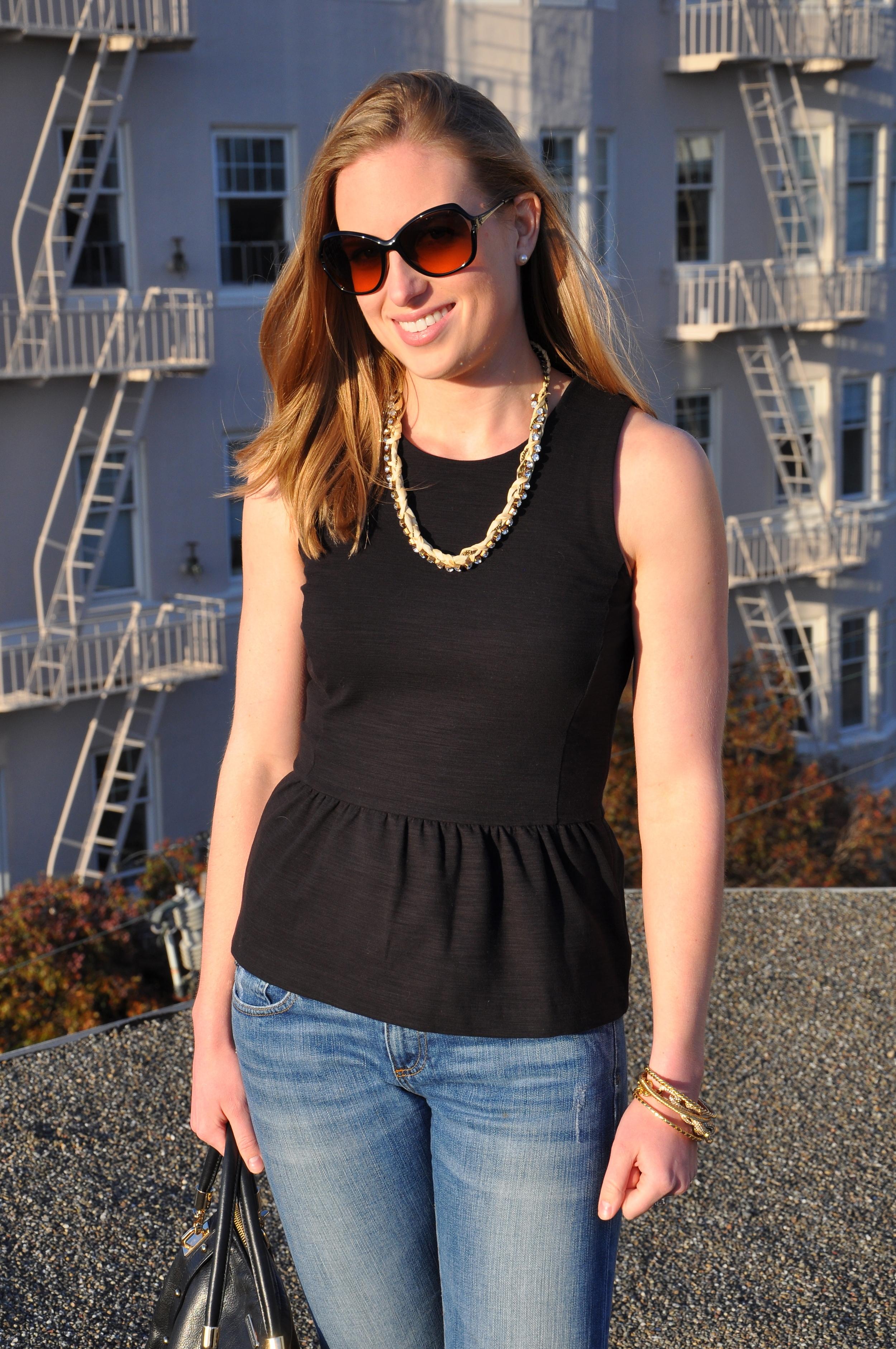 Madewell shirt, AG jeans, J. Crew necklace (old), J. Crew heels (similar), J. Crew bracelet, J. Crew bangles, Rebecca Minkoff bag, Tory Burch sunglasses (similar)