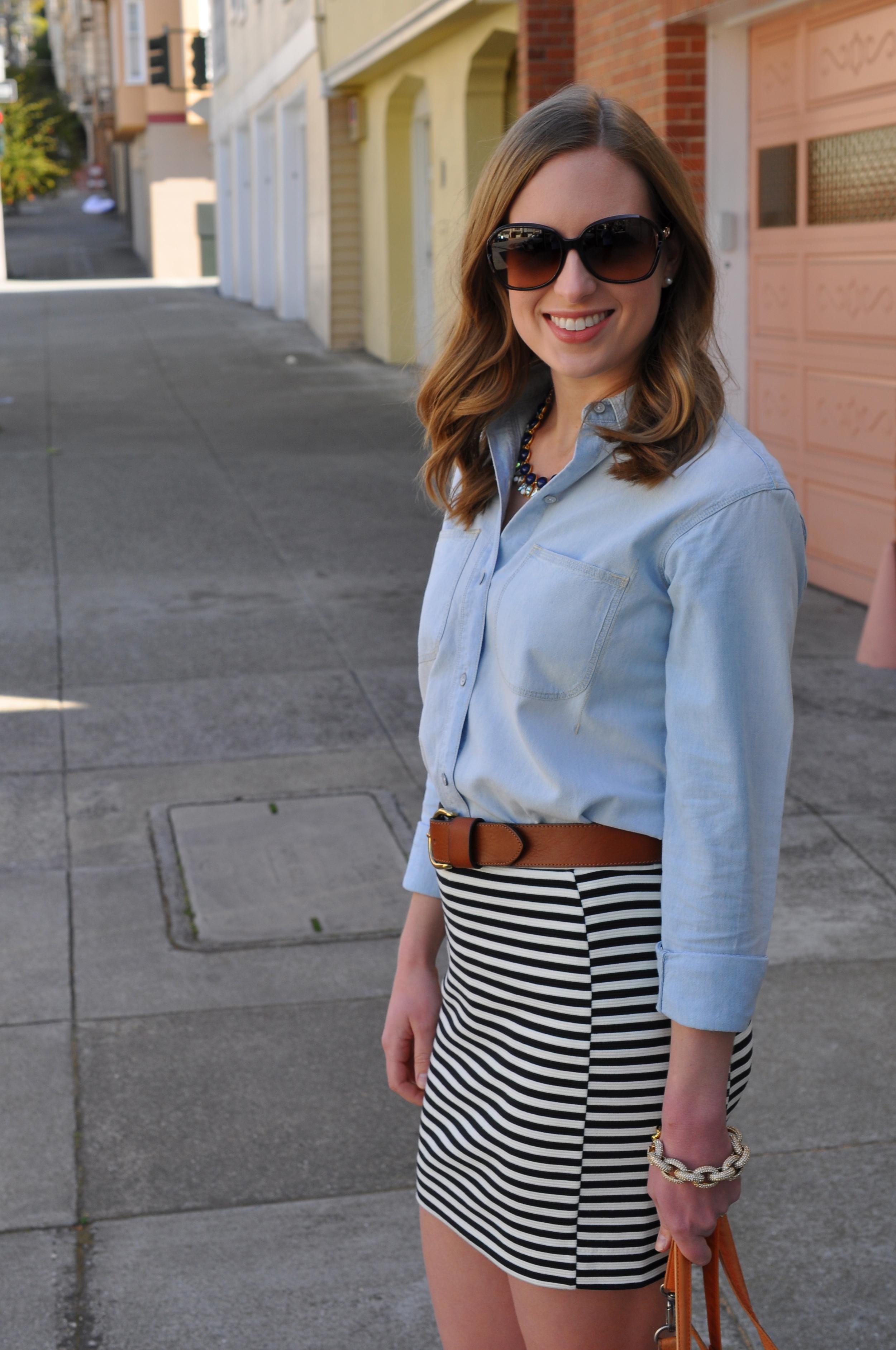 Madewell shirt, Madewell skirt, Madewell belt, Rocket Dog boots, J. Crew bracelet, Anthropologie bag (similar), Coach sunglasses