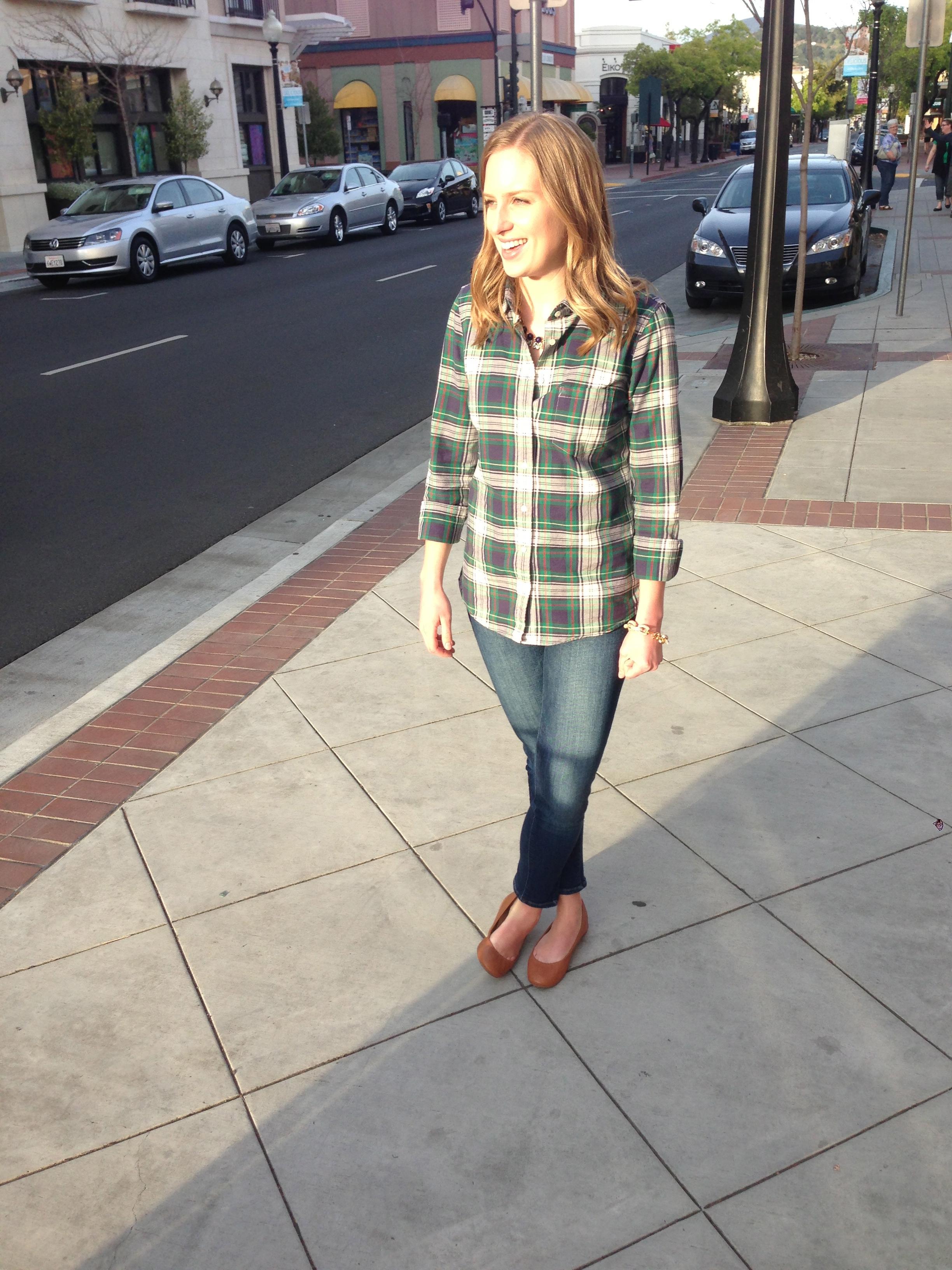 J. Crew shirt, Paige jeans, J, Crew flats, J. Crew necklace, J. Crew bracelet