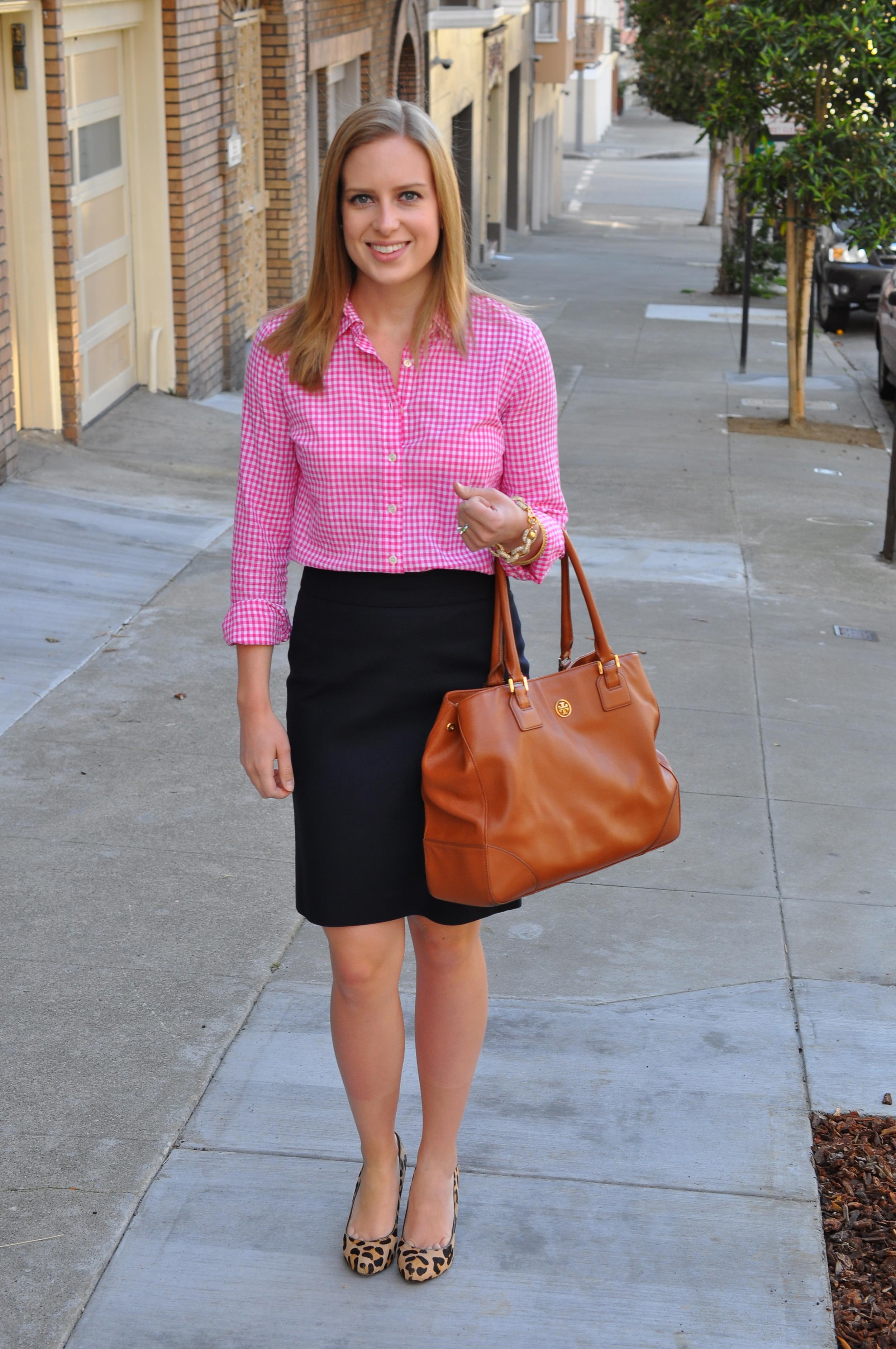 J. Crew shirt (similar), J. Crew skirt, Ivanka Trump heels (similar), J. Crew bracelet, J. Crew bangles, Tory Burch bag