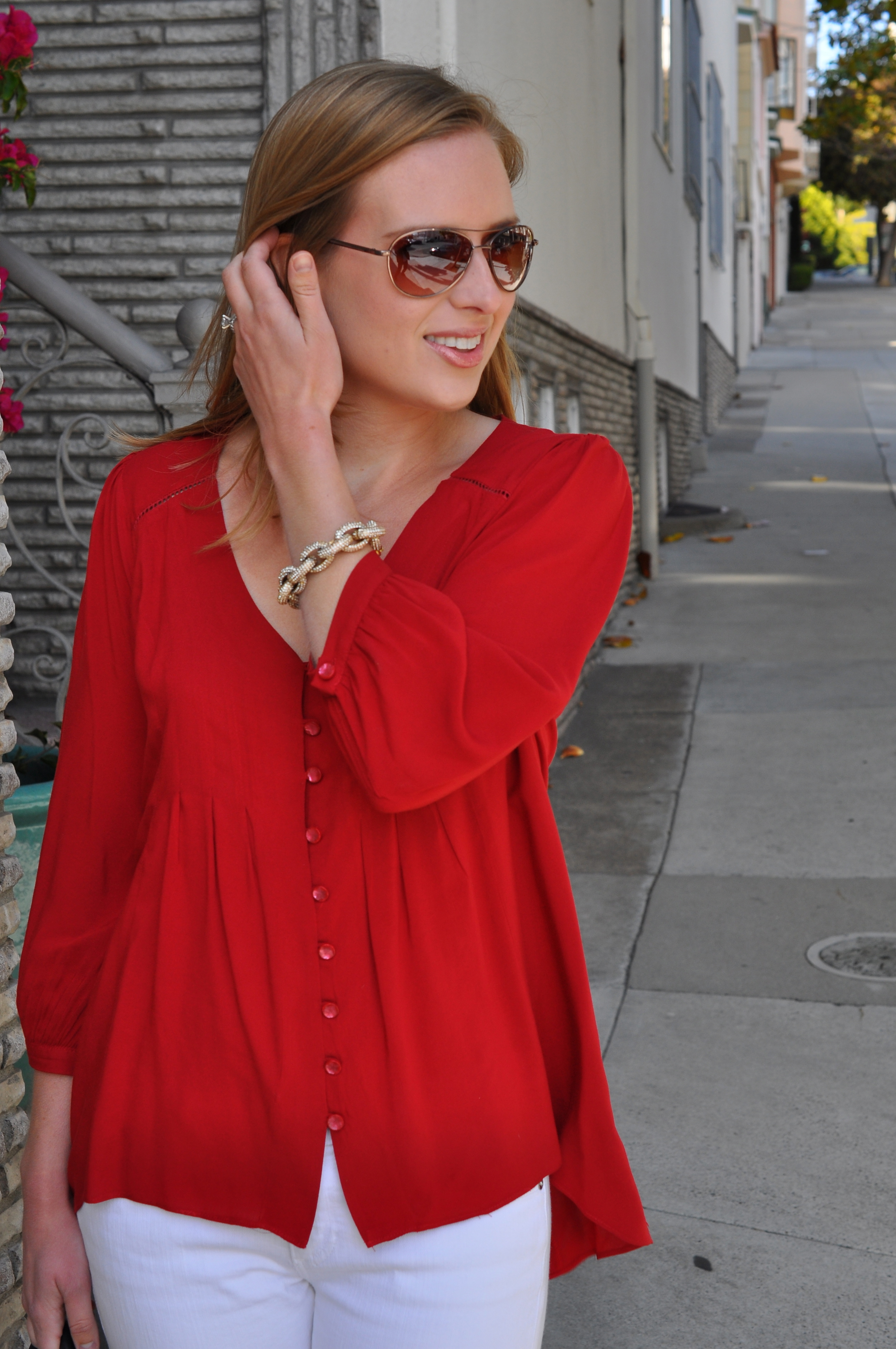 Anthropologie blouse (old), AG jeans, Sam Edelman sandals, J. Crew bracelet, Rebecca Minkoff bag, Anthropologie sunglasses