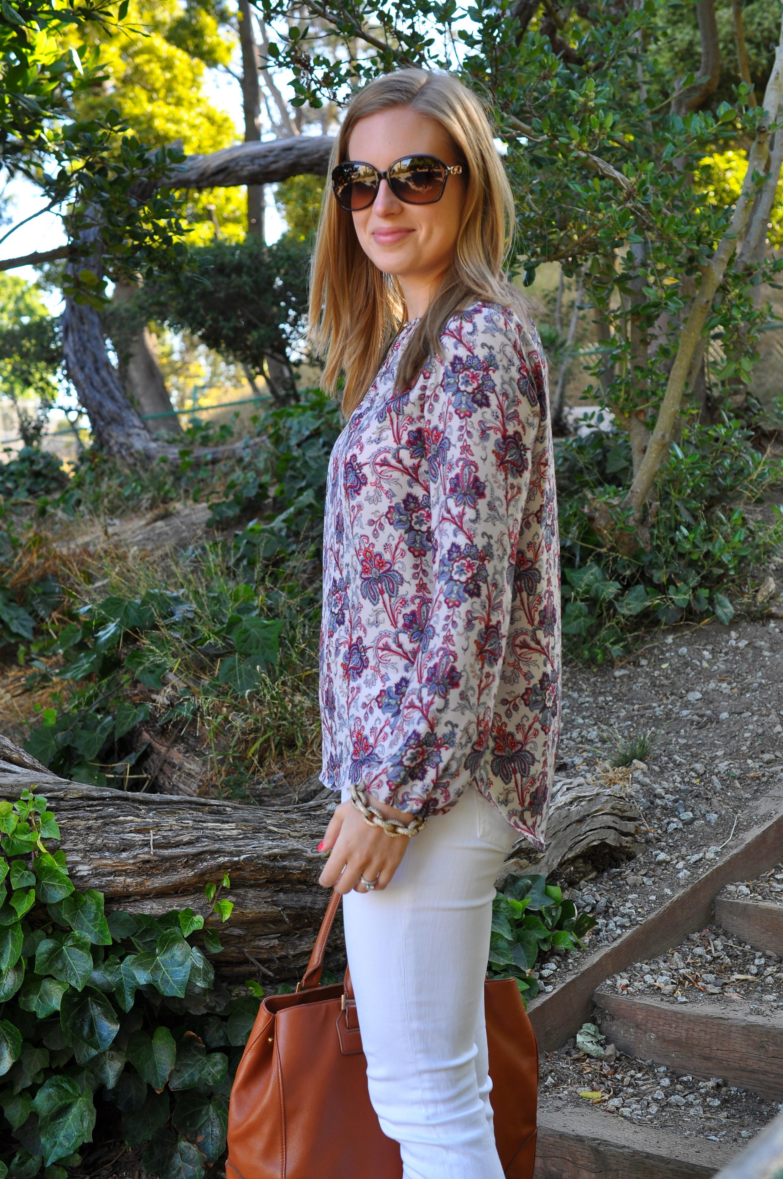 Zara blouse (old), AG jeans, Sam Edelman sandals, J. Crew bracelet, Tory Burch bag, Coach sunglasses