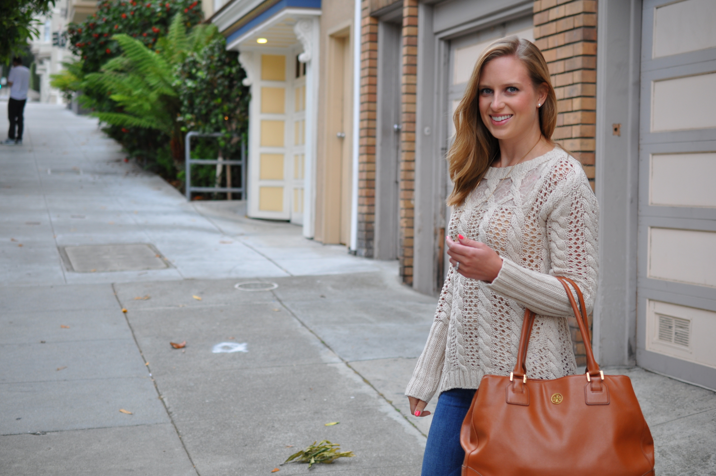 Anthropologie sweater (old), Paige jeans (similar), Shoedazzle shoes, Madewell necklace, Tory Burch bag
