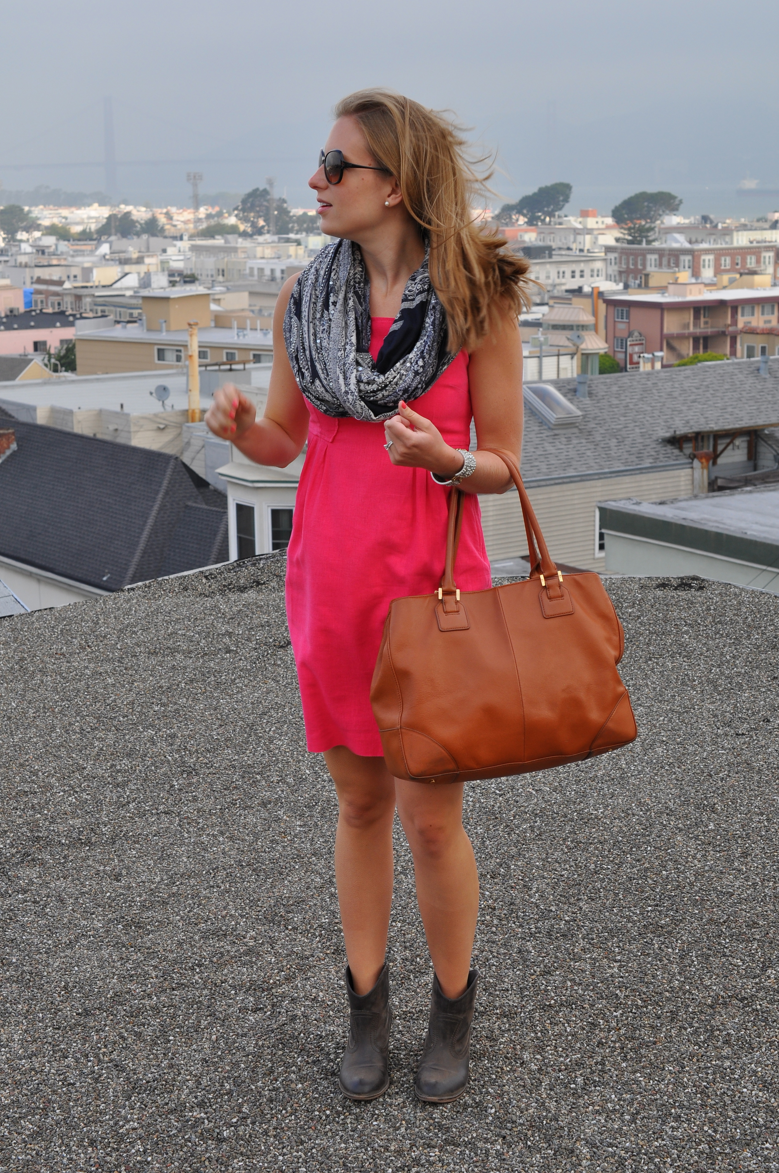 Anthropologie dress (old), Anthropologie scarf (old), Rocket Dog boots, J. Crew bracelet (old), Tory Burch bag, Tory Burch sunglasses
