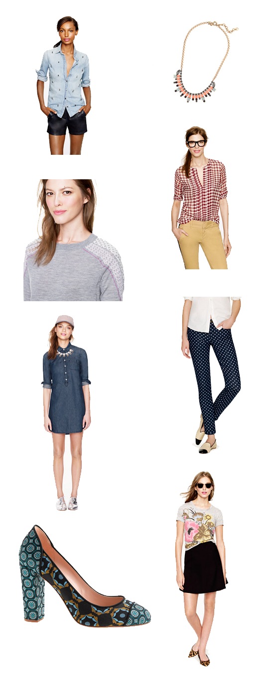Clockwise, from top: Necklace, Gingham blouse, Polka dot pants, Black skirt, Printed heels, Denim dress, Gray sweater, Chambray shirt