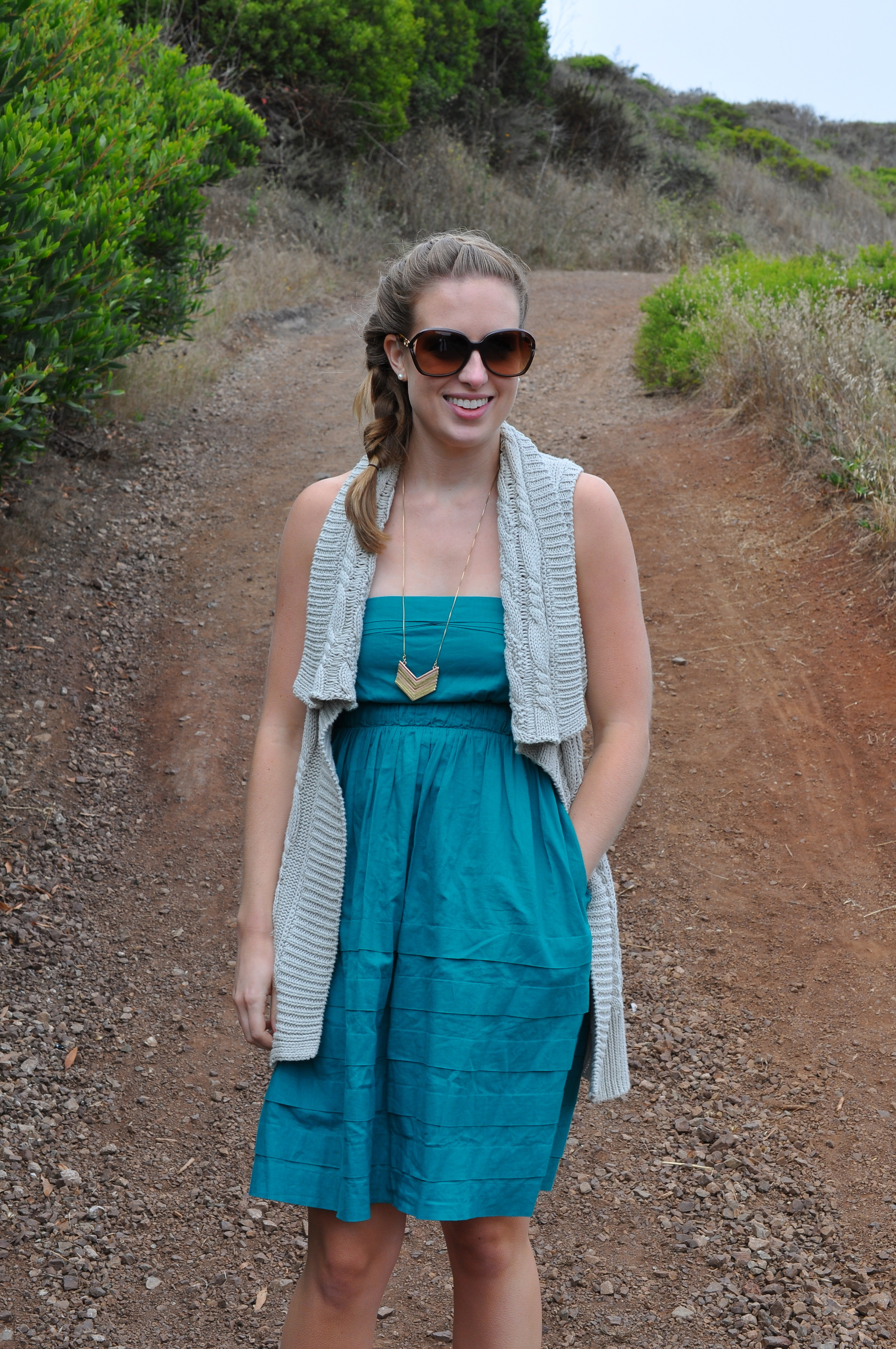 Banana Republic vest (old), Anthropologie dress (old), Rocket Dog boots, Madewell necklace, Coach sunglasses