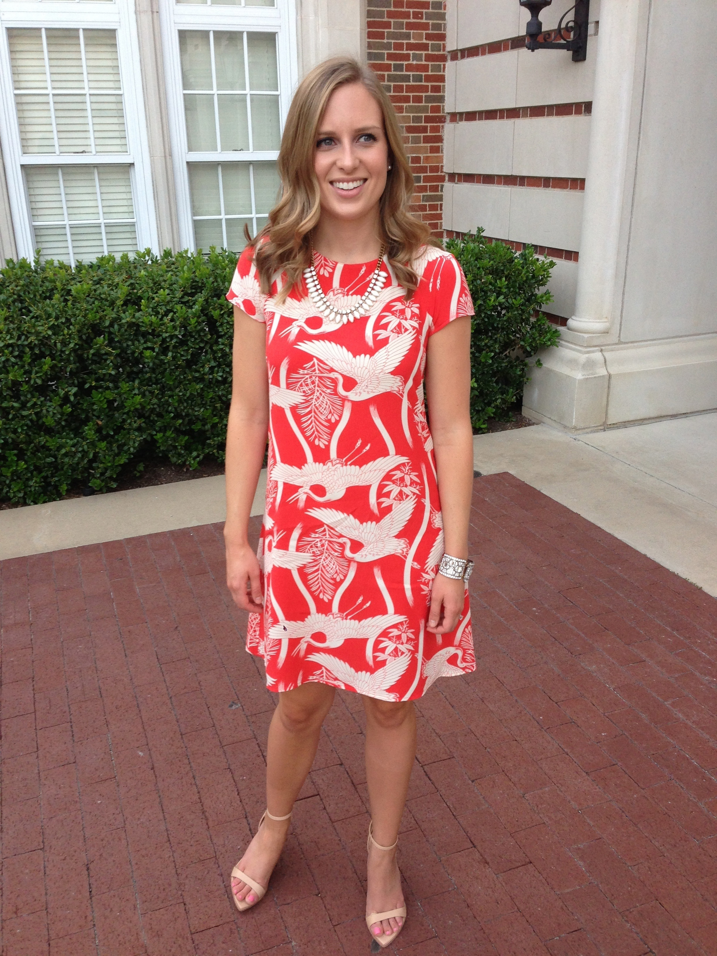 Zara dress, Zara heels, J, Crew necklace (similar), J. Crew bracelet (old)