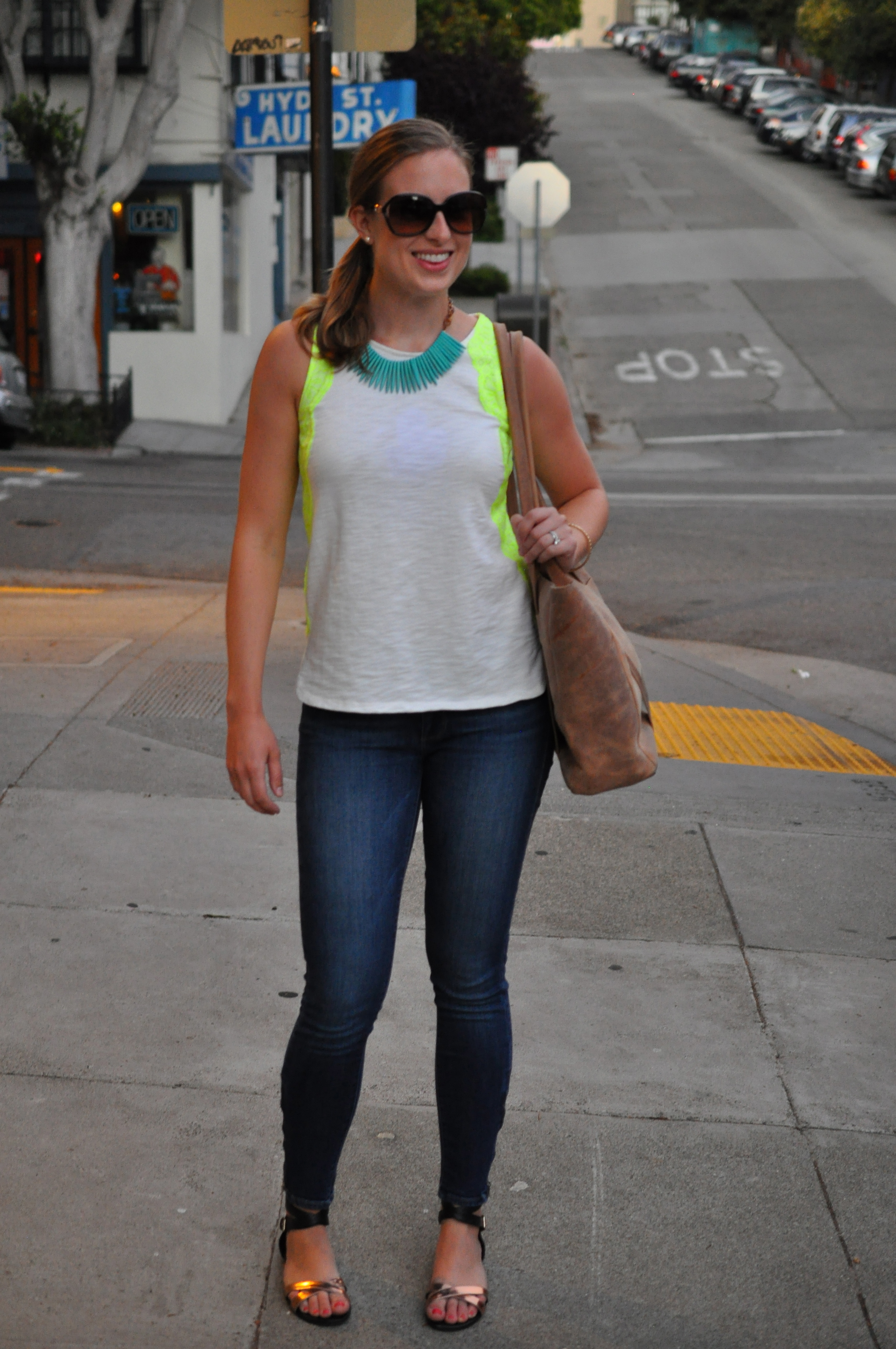 Madewell shirt, Paige jeans (similar), Rebecca Minkoff flats, Birds on a Wire necklace c/o, J. Crew bangle, TEXI leather bag, Coach sunglasses (old)