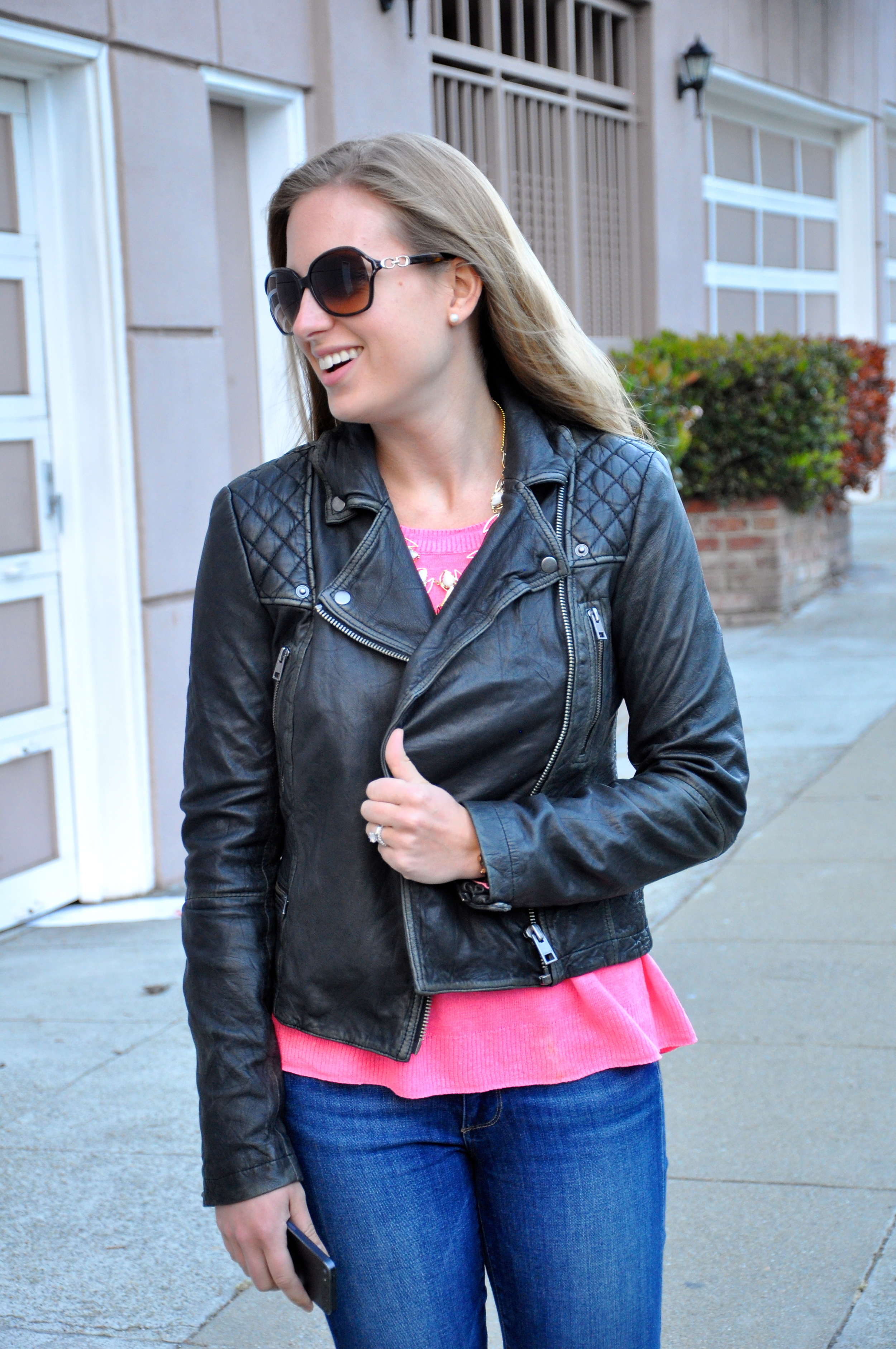 All Saints leather jacket, Madewell sweater, Paige jeans (similar), J. Crew flats, Kendra Scott necklace, Michael Kors watch (similar), Coach sunglasses (old)