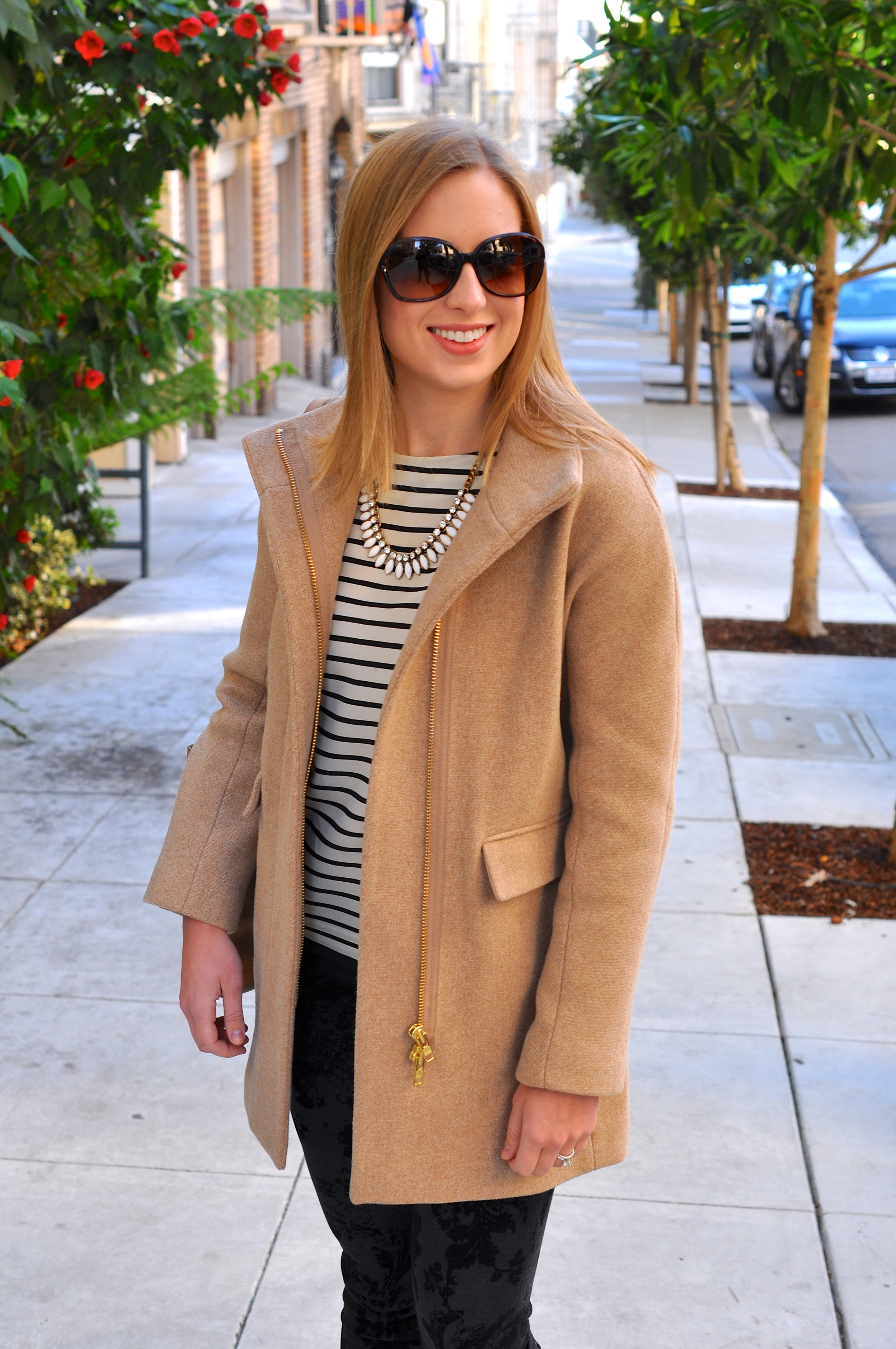 J. Crew coat, J. Crew blouse (love this version), Current/Elliot velvet jeans, Sam Edelman booties, J. Crew necklace (similar), TEXI leather bag, Coach sunglasses (old)