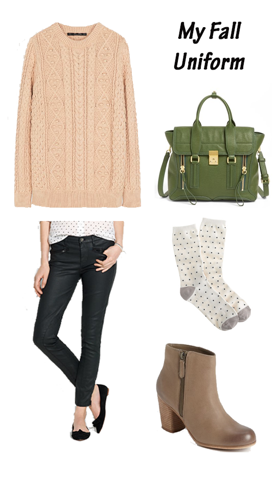Zara sweater, Madewell coated jeans, 3.1 Phillip Lim bag, J. Crew socks, Sam Edelman boots