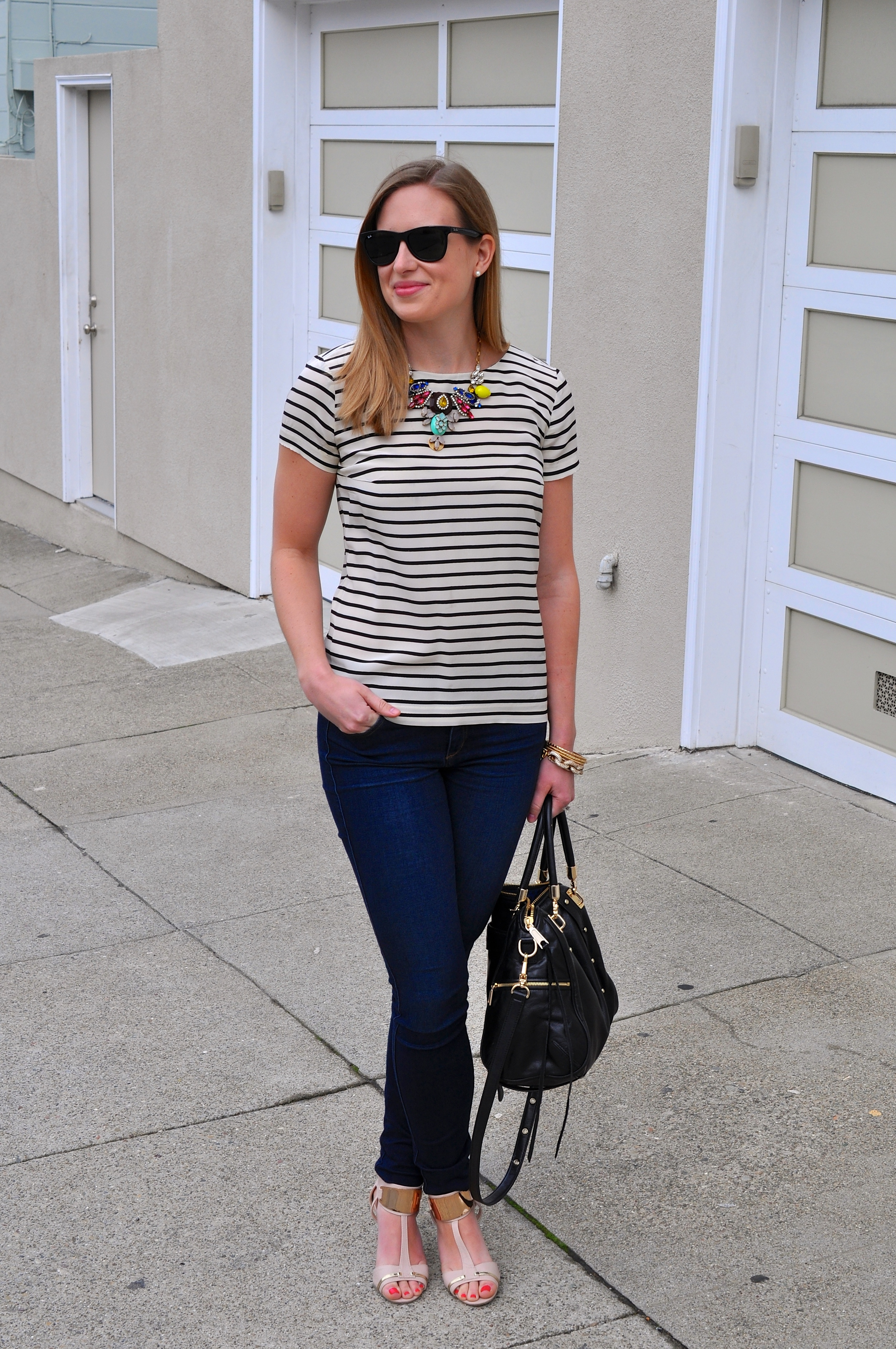 J. Crew shirt (old), Joe's jeans (old), Shoedazzle shoes (old), J. Crew necklace (not in stock), J. Crew bracelet, J. Crew bangles, Rebecca Minkoff bag, Ray-Ban sunglasses