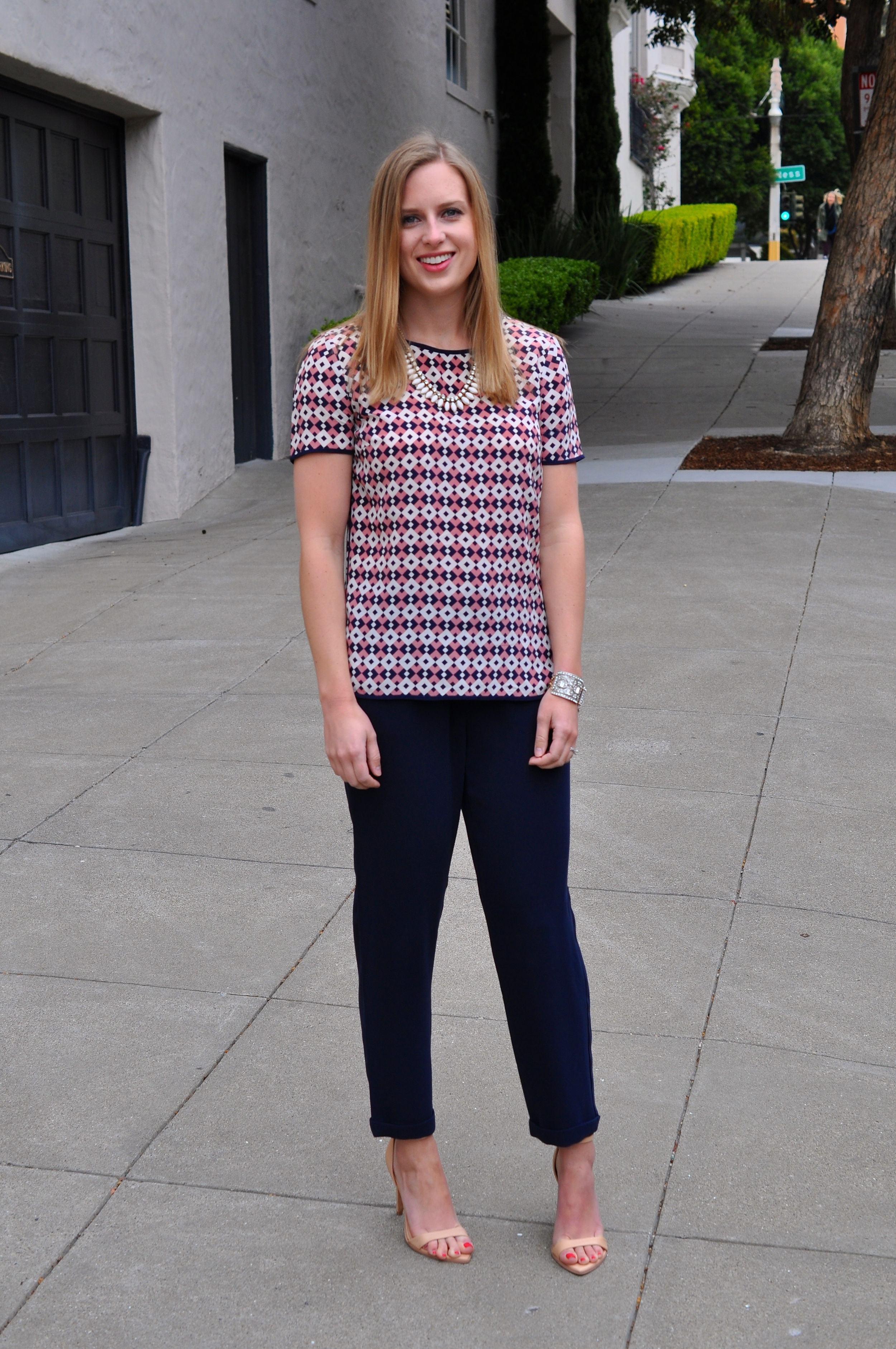 J. Crew blouse, J. Crew pants, Zara heels, J. Crew necklace (old)
