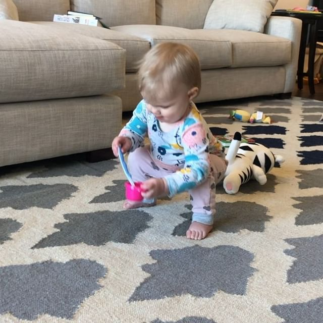 "Callie really put the ones in 11 this month with her first word (""dog"") and her first steps. Happy eleven months (nine days late 😬), sweet Bear. Getting to see your little face every day is my greatest joy."