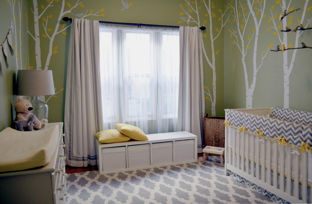 Baby nursery yellow grey gender neutral Color Genderneutral Nursery Green Walls White Birch Trees With Yellow Leaves Wall Shana Cunningham Designs Genderneutral Nursery Shana Cunningham Designs