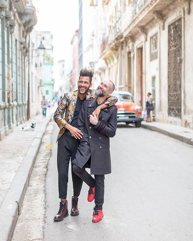 WHAT A PAIR. This was my first photo session in Cuba and I was like a kid in a candy store. Ishak & Felix's natural love and vibrancy set the tone for the whole trip. We snapped these at sunrise before their trip to Paris (which was the first time on a plane out of Cuba for @palmero.felix!). Their infectious smiles and kind spirits shine through in these portraits. I can't wait to share more of their street session on the blog soon! 💕
