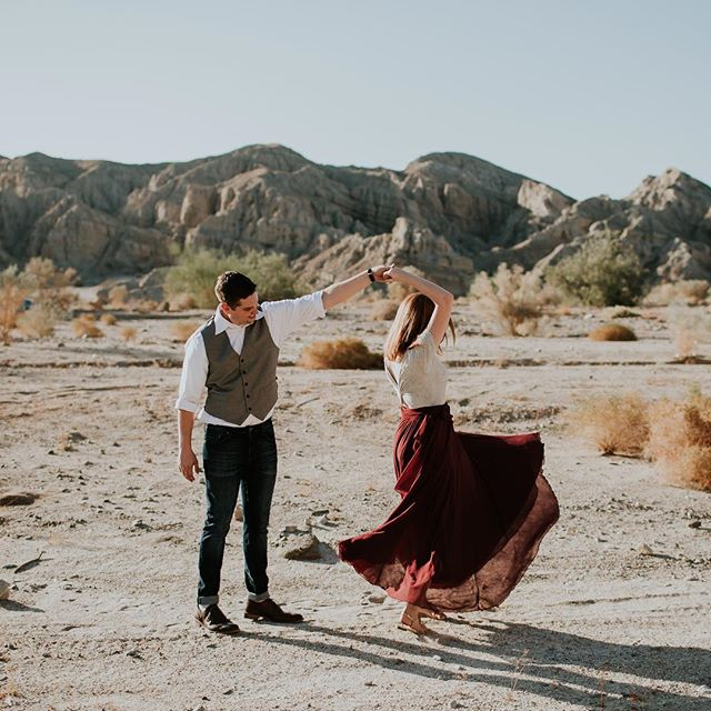 Dancing in the desert. ✨ // These two are getting married this weekend, so their adventurous engagement session is up on the blog today. ❤️ // (also, more desert engagement sessions pleeeease.)