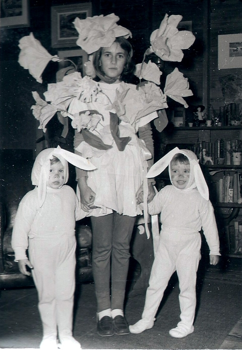 The true inspiration for both, though, may have been an old photograph of Jenny's older sister dressed up for Halloween as a bouquet of flowers.