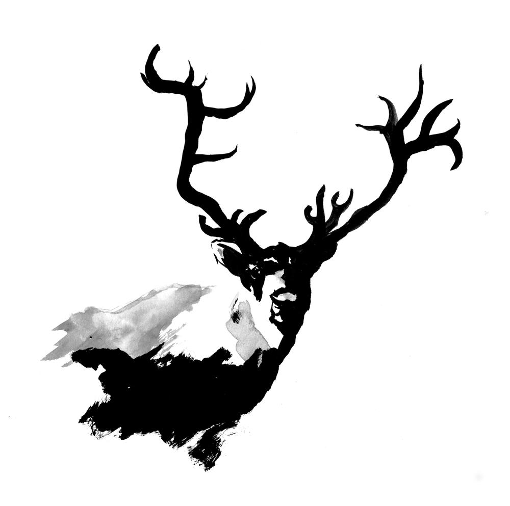 Elk Painting Anltered Animal Antlers Ink Of An