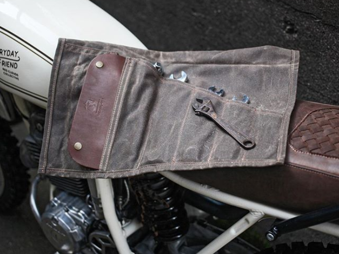 Bike Gear - -Basic tool roll-Specialty tools for your bike-Tire patch/plug kit-Gas can + extra gas-Extra drinking water