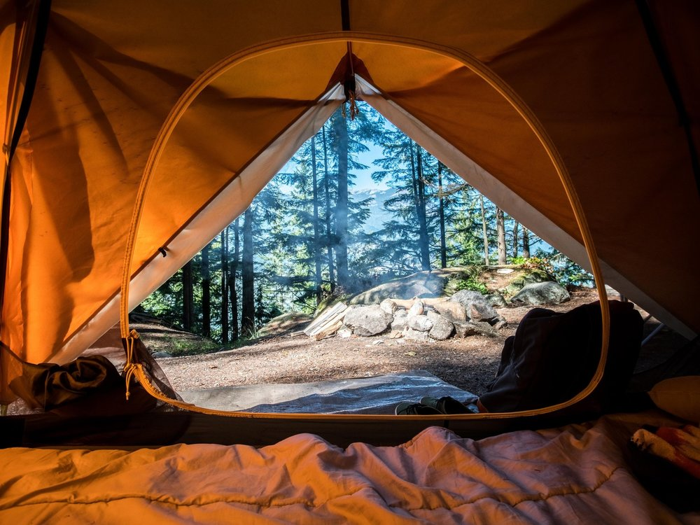 Sleep - -Tent for open field camping-Rain canopy for tent-Sleeping bag-Sleep pad/extra blanket-Tent light/lantern