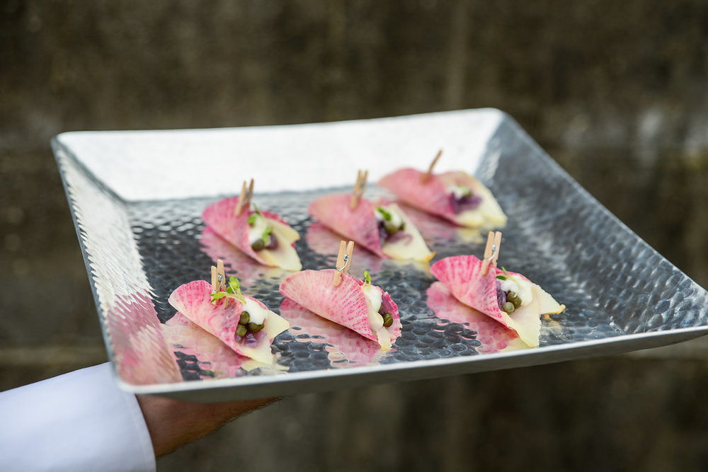 Watermelon Radish Clips with Smoked Sable & Horseradish Cream